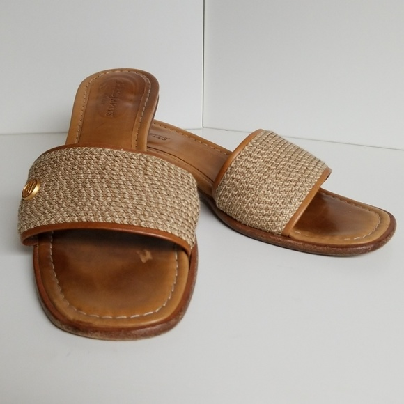 Beige Straw Leather Sandal Italy 75m